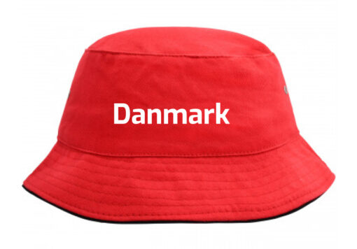 Bøllehat rød med hvid tekst Danmark EM 2021