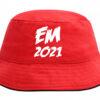 Bøllehat rød med hvid tekst EM2021