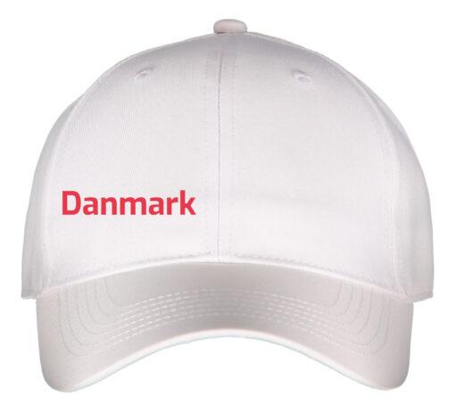 Kasket hvid med rød tekst danmark front