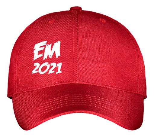kasket rød med hvis tekst EM2021