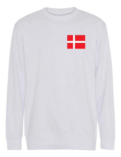 Crewneek Hvid med roed tekst Danmark 1 scaled e1621944025493