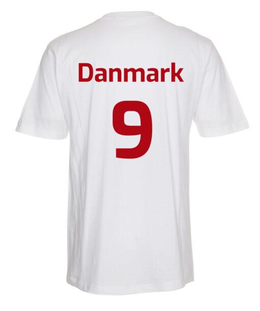 T shirts Hvid med Roed tekst EM2021 lille scaled e1622098899501