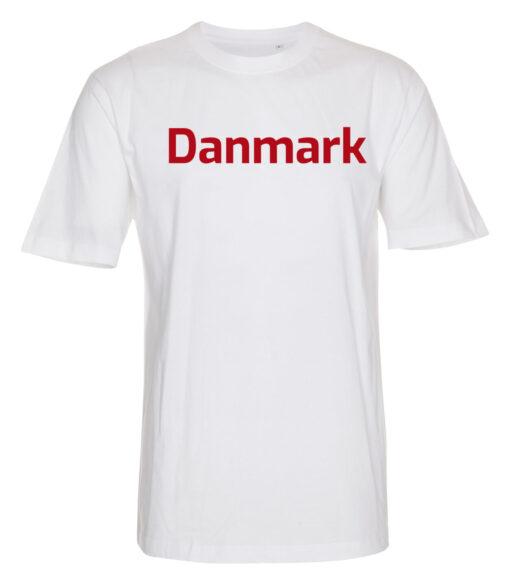 T shirts Hvid med roed tekst Danmark 1 scaled e1622098682631
