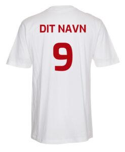 T shirts Hvid med roed tekst Dit Navn scaled e1622098753367