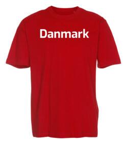 T shirts Roed med hvid tekst Danmark 1 scaled e1622099517819