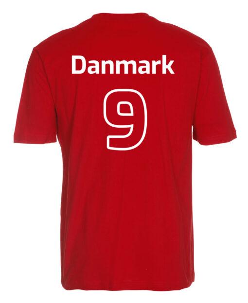 T shirts Roed med hvid tekst Danmark scaled e1622099489541
