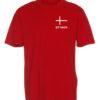 T shirts Roed med hvid tekst Dit Navn 1 scaled e1622099607510