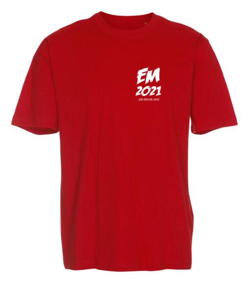 T-shirts Rød med hvid tekst EM2021 lille