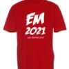 T shirts roed med hvid tekst EM2021 1 scaled e1622099773802